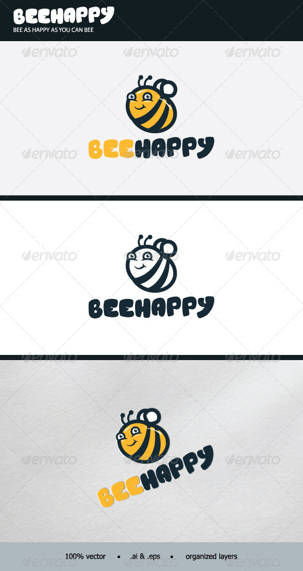 GraphicRiver Bee Happy Logo 7650813