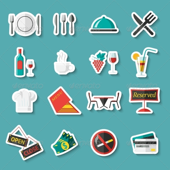 GraphicRiver Restaurant Icons Stickers 7690760