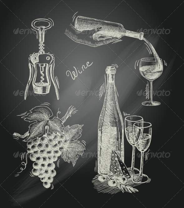 GraphicRiver Wine Chalkboard Decorative Set 7690828