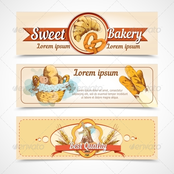 GraphicRiver Bakery Hand Drawn Banners 7691102