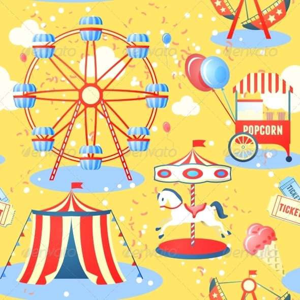 GraphicRiver Amusement Park Seamless Pattern 7691110