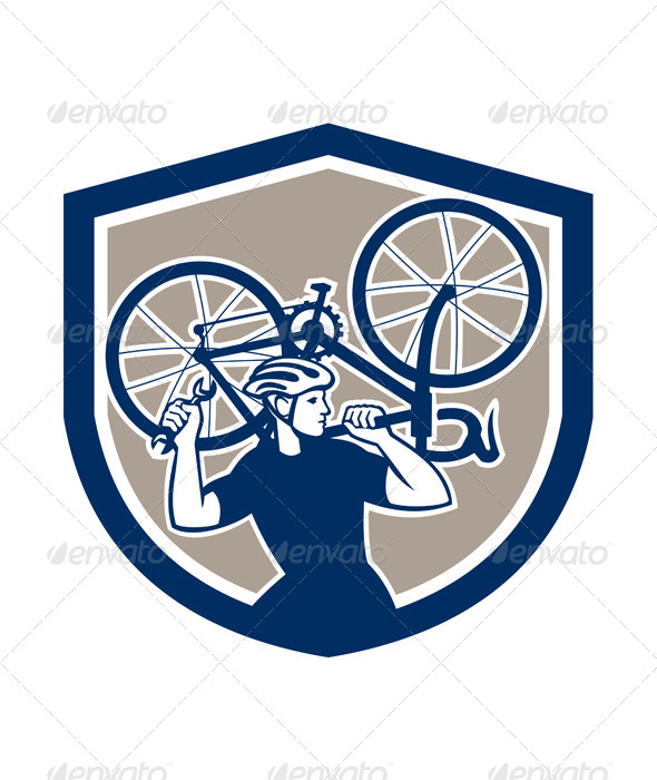 GraphicRiver Bicycle Mechanic Carry Bike Shield Retro 7691557