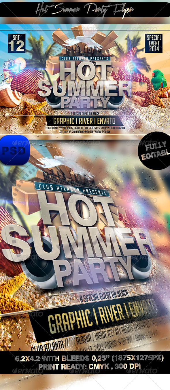GraphicRiver Hot Summer Party Flyer 7672398