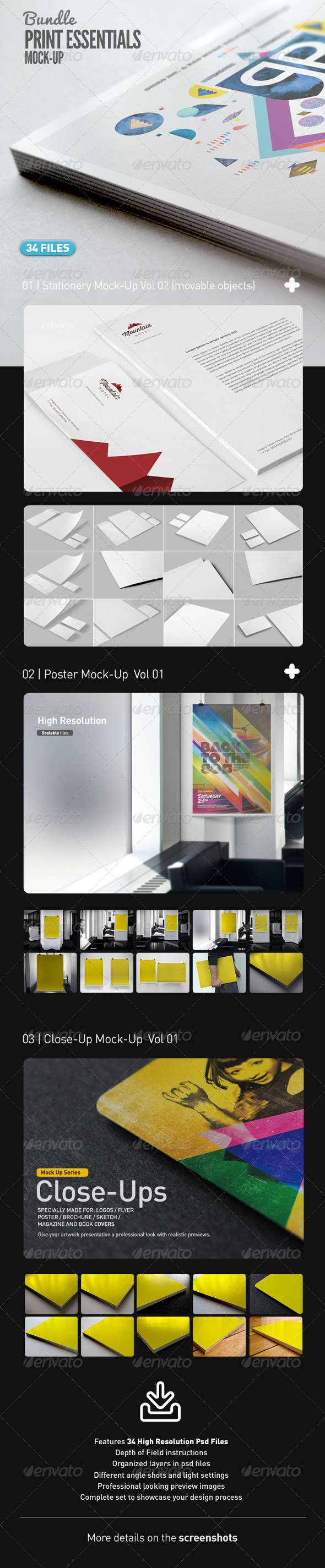 GraphicRiver Stationery Poster Close Up Mock-Up Bundle Vol 01 7695019