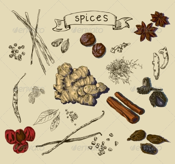 GraphicRiver Background with Hand Drawn Spices 7696209