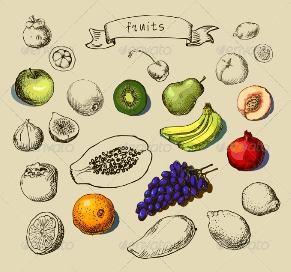 GraphicRiver Hand Drawn Fruits 7696218