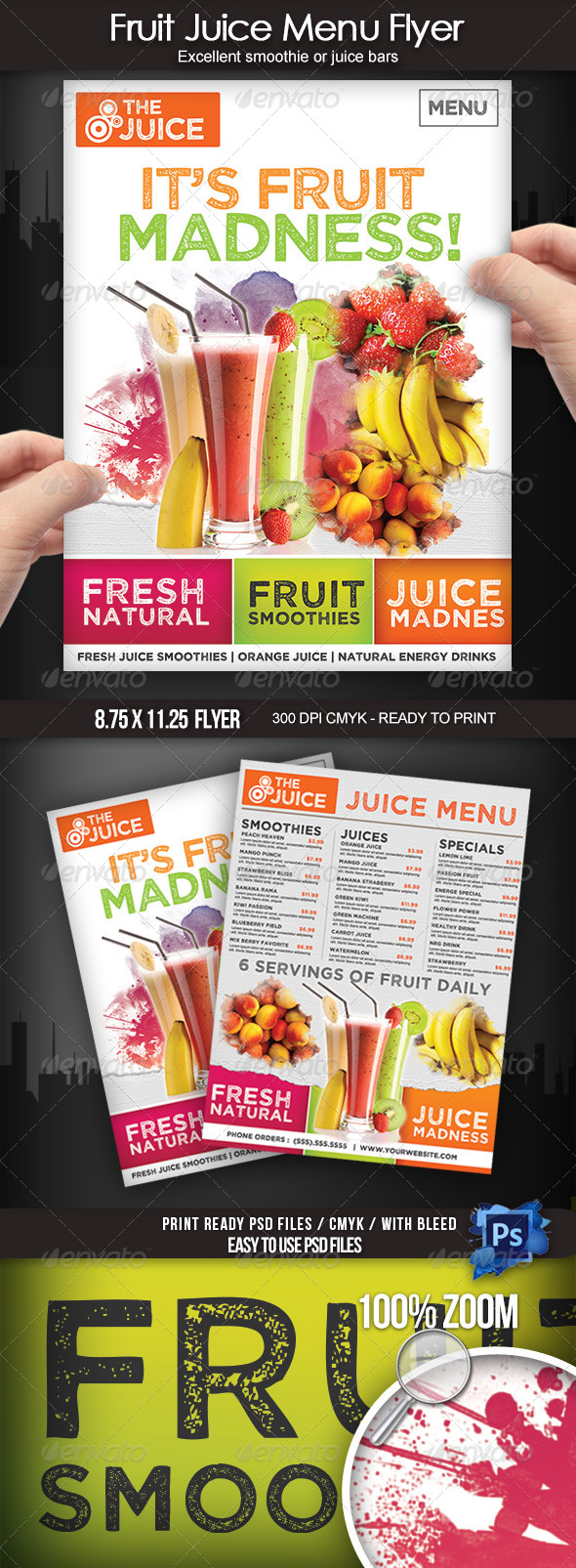 GraphicRiver Fruit Juice Menu Flyer 7698804