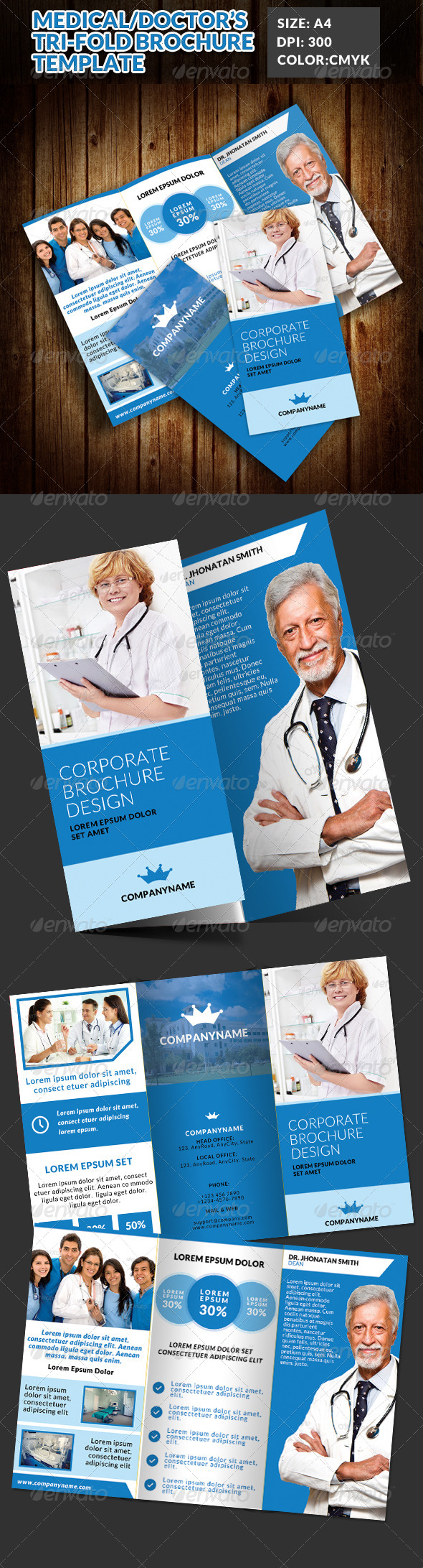 GraphicRiver Doctor Medical Hospital Health Tri-Fold Brochure 7698968