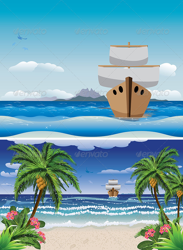 GraphicRiver Cartoon Boat in the Sea 7699456