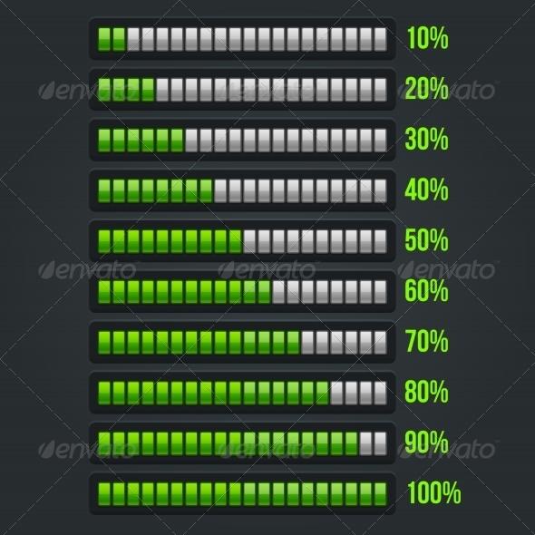 GraphicRiver Green Progress Bar Set 10 Through 100 Percent 7700560