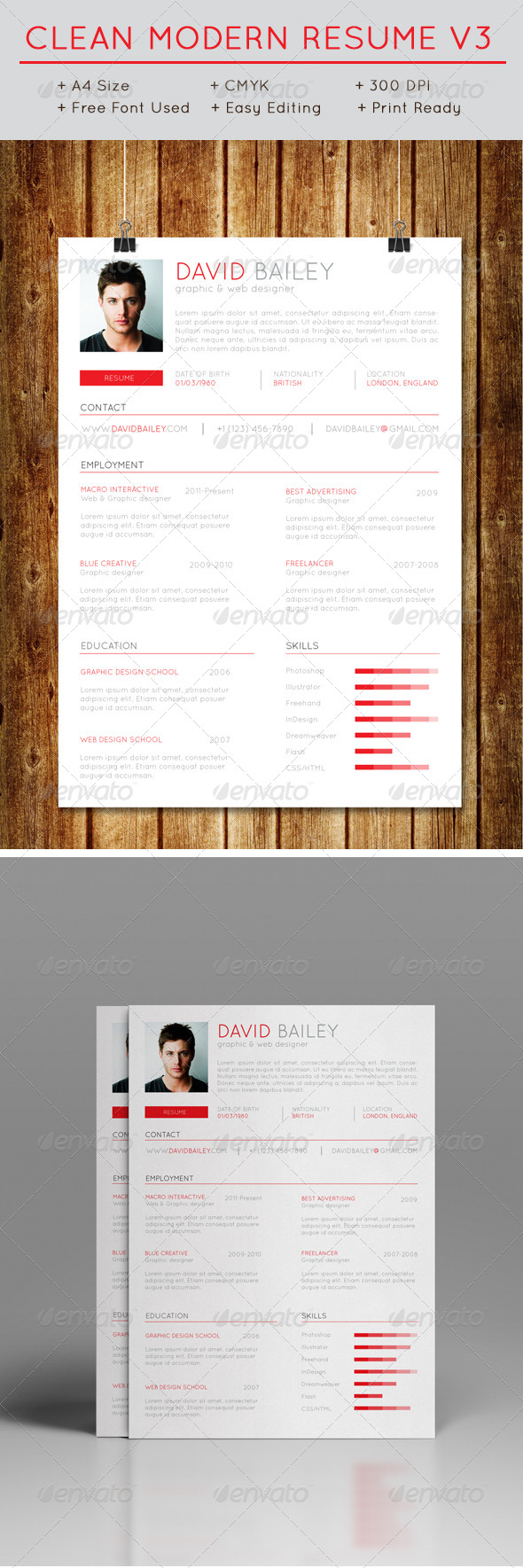 GraphicRiver Clean Modern Resume V3 7700798