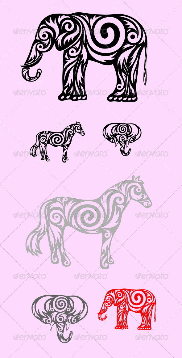 GraphicRiver Elephant and Horse 7701326