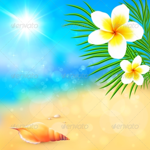 GraphicRiver Sunny Summer Beach with Shell and Flowers 7701538