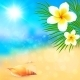 Sunny Summer Beach with Shell and Flowers - GraphicRiver Item for Sale