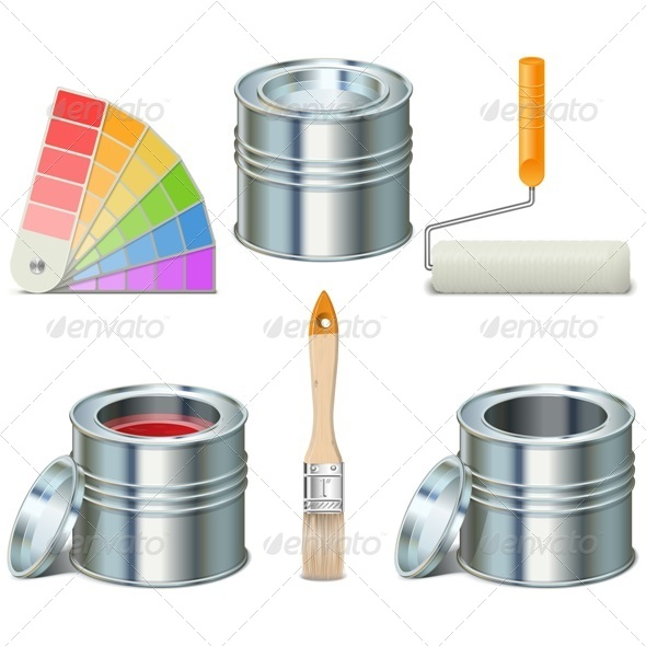 GraphicRiver Vector Paint Can and Brush Icons 7702523