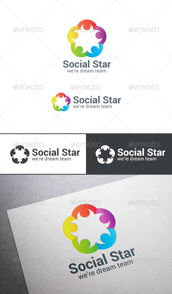 GraphicRiver Social Team Holding Hands Logo Teamwork Star 7702632