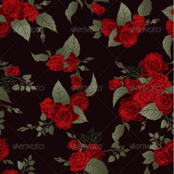 GraphicRiver Seamless Floral Pattern with Roses 7666647