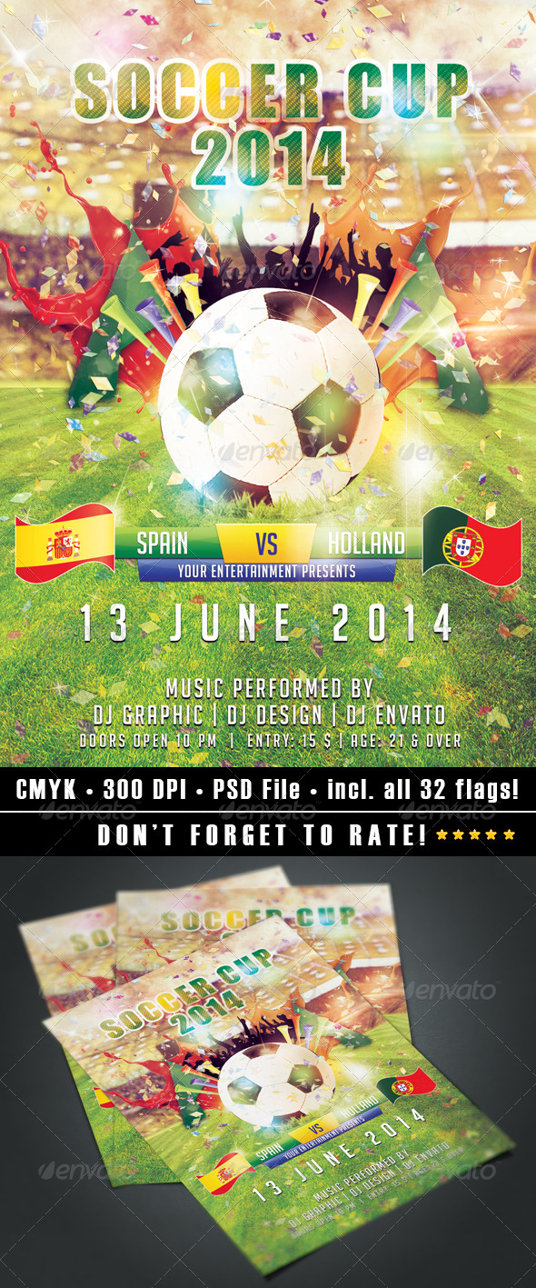 GraphicRiver Soccer Cup 2014 flyer 7683607