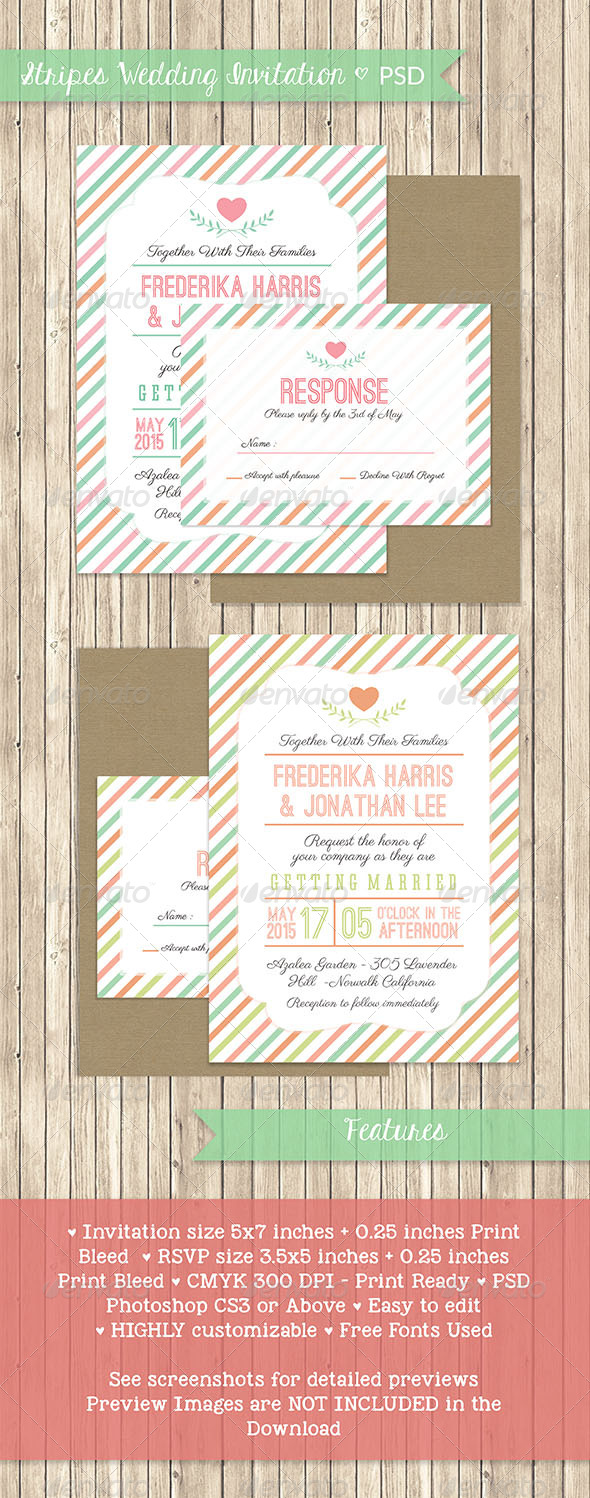 GraphicRiver Stripes Wedding Invitation PSD Template 7708648