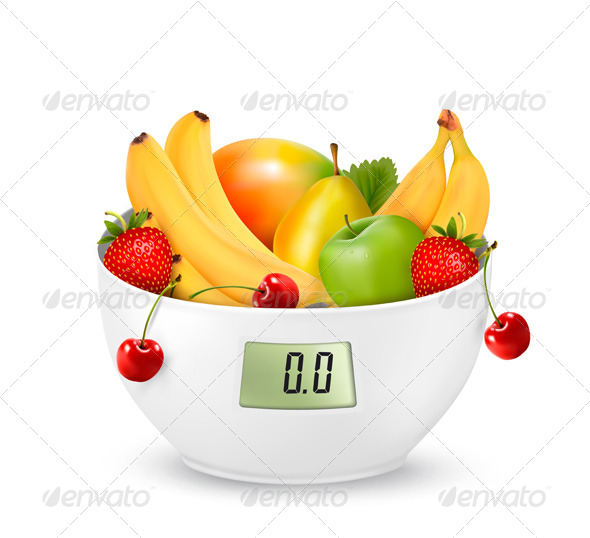 GraphicRiver Fruit with a Digital Weight Scale Diet Concept 7708675