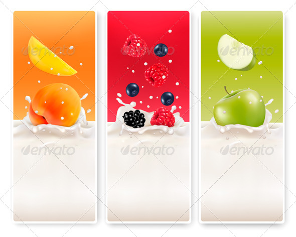 GraphicRiver Three Fruit and Milk Labels 7708745
