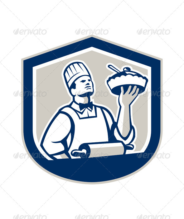 GraphicRiver Chef Cook Holding Roller Plate Retro 7708992
