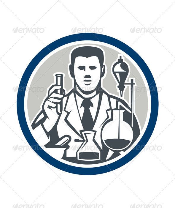 GraphicRiver Scientist Lab Researcher Chemist Retro Circle 7709143