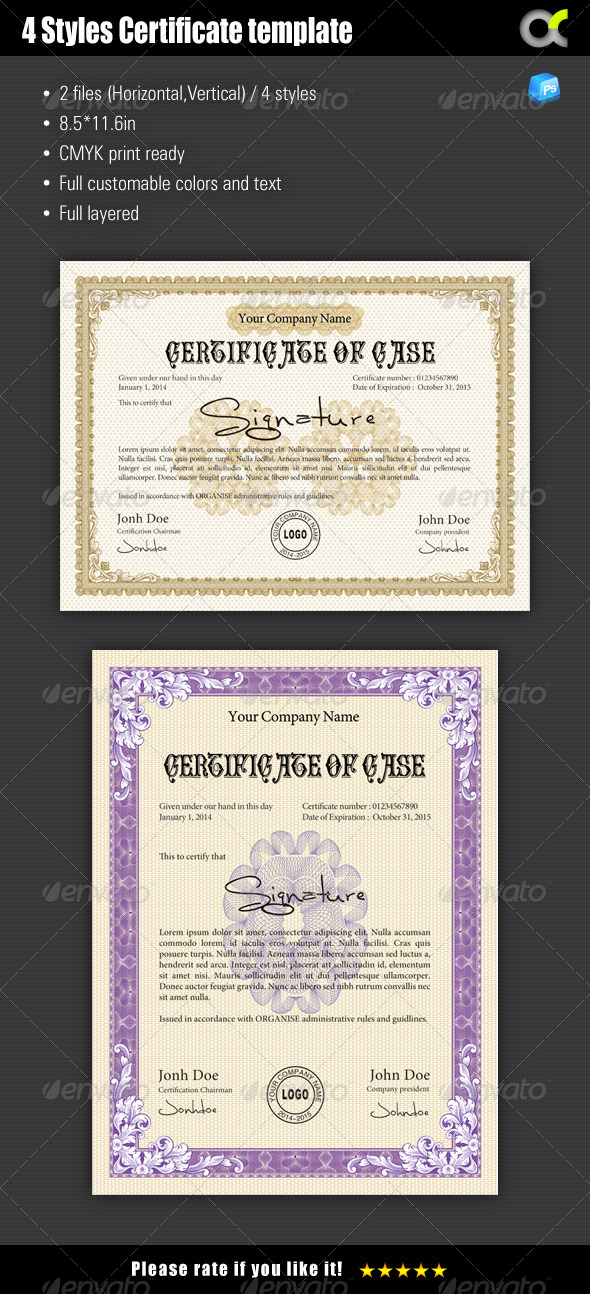 GraphicRiver 4 Styles Certificate template 7684815