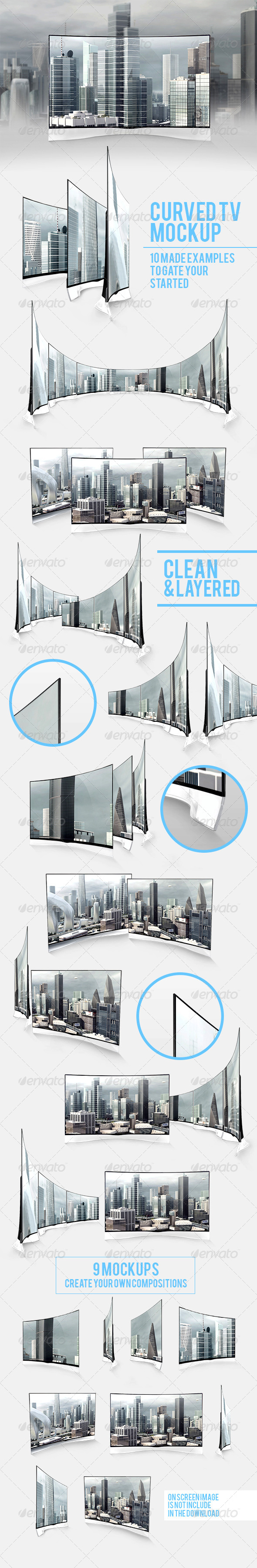 GraphicRiver Curved TV Mockups Pack 7710035