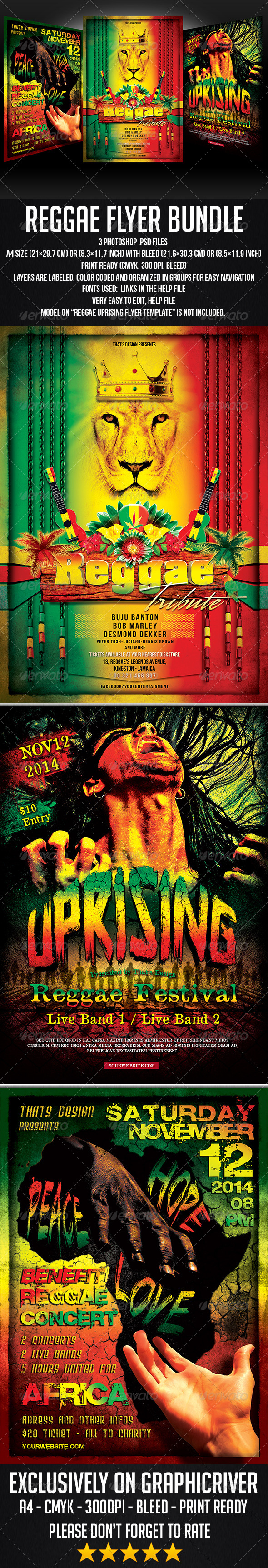 GraphicRiver Reggae Flyer Bundle 7710186