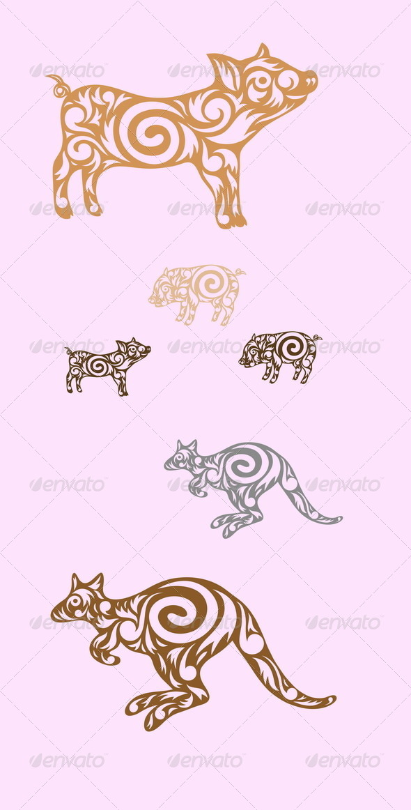 GraphicRiver Kangaroo and Pig 7710208