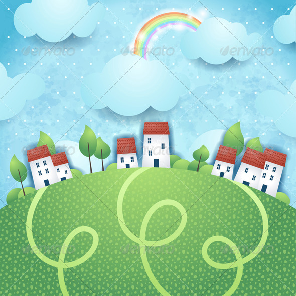 GraphicRiver Fantasy Landscape with Village and Rainbow 7683854