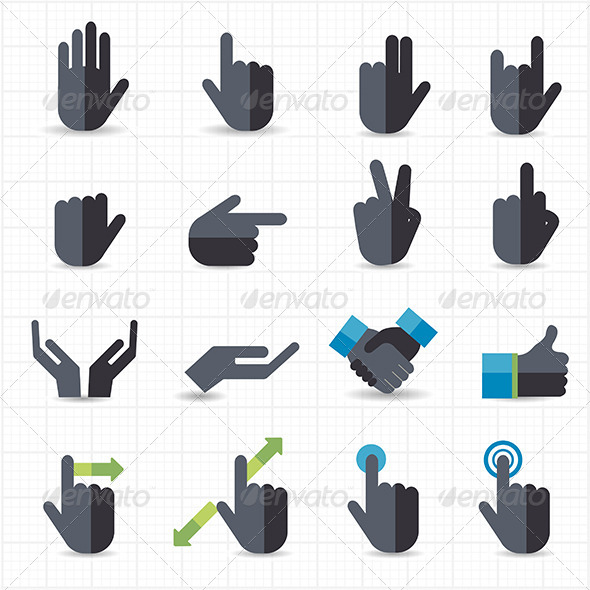 GraphicRiver Hand Gesture Black Icons 7712470
