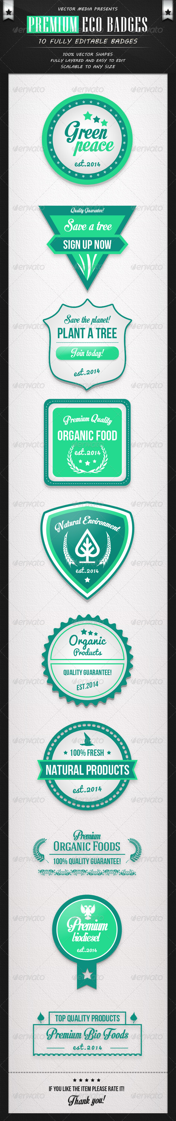 GraphicRiver Premium Eco Badges 7712486