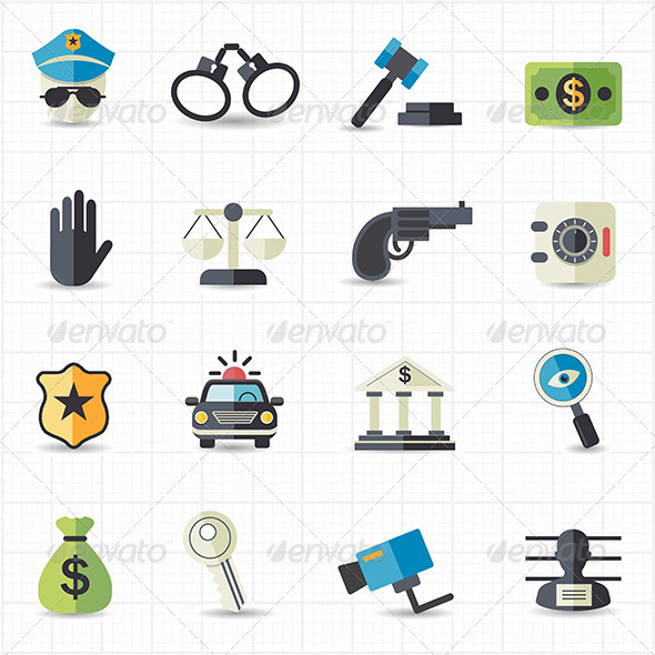 GraphicRiver Law and Justice Icons 7712526