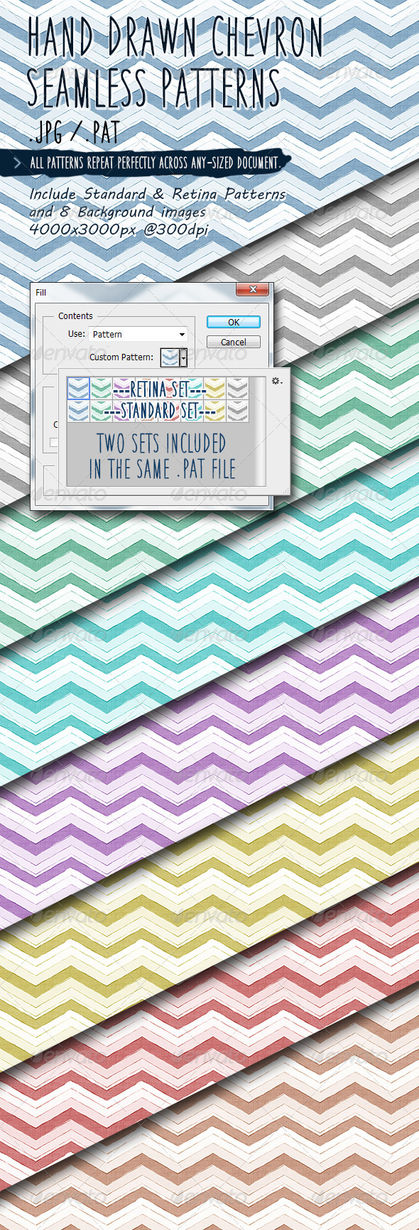 GraphicRiver Hand Drawn Chevron Seamless Patterns 7714653