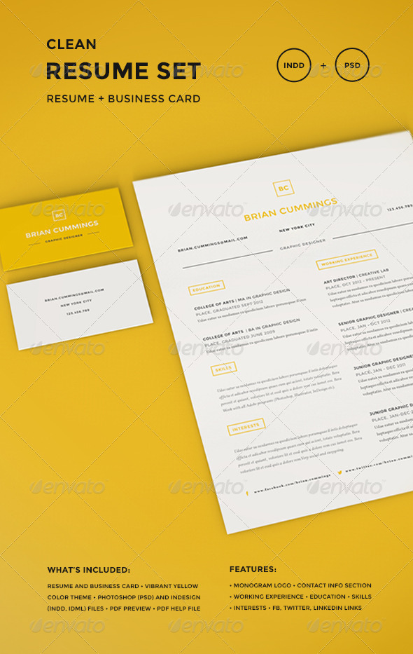 GraphicRiver Clean Resume Set 7715054