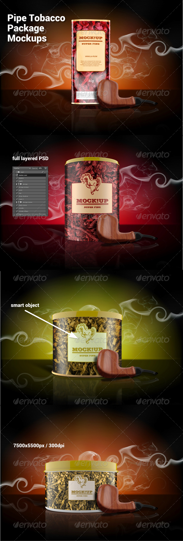 GraphicRiver Pipe Tobacco Package Mockups 7715689