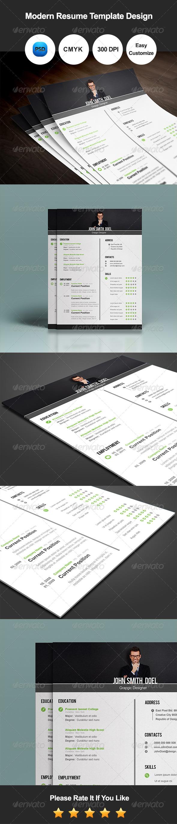 GraphicRiver Modern Resume Template Design 7717198