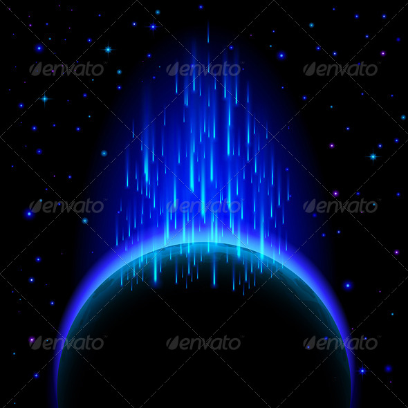 GraphicRiver Dark Planet with Star Shower 7720643