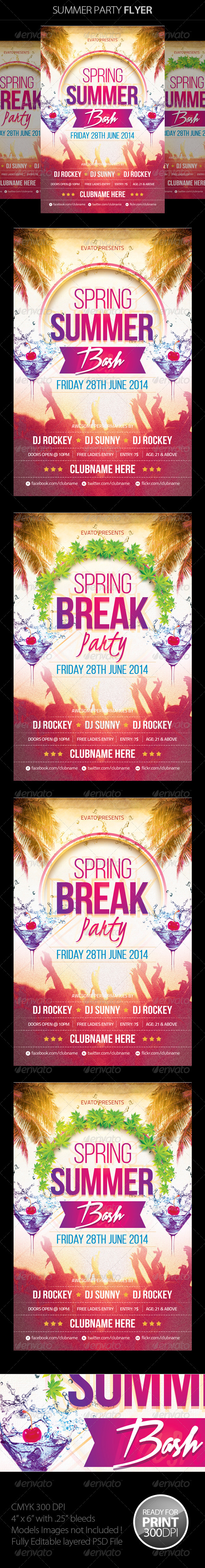 GraphicRiver Summer Spring Party Flyer 7721989