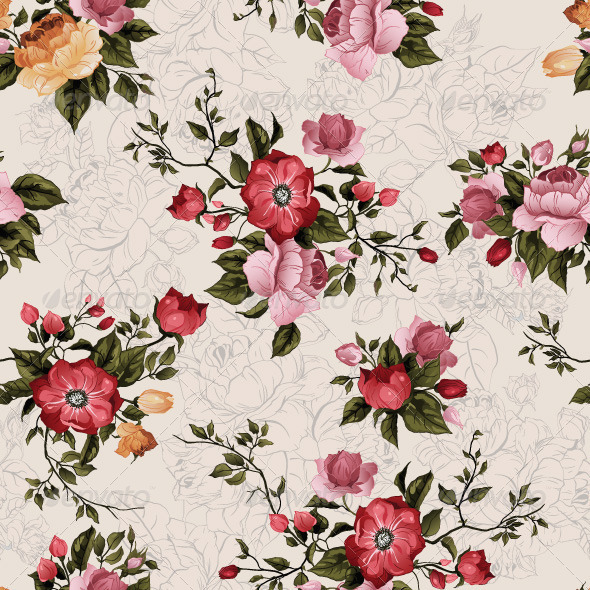 GraphicRiver Vector Seamless Floral Pattern with Roses 7723625