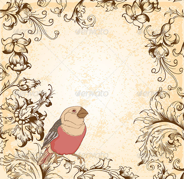 GraphicRiver Victorian Floral Background with Bird 7724095
