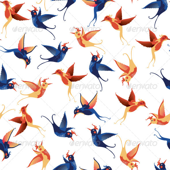 GraphicRiver Vector Birds Seamless Pattern 7724120