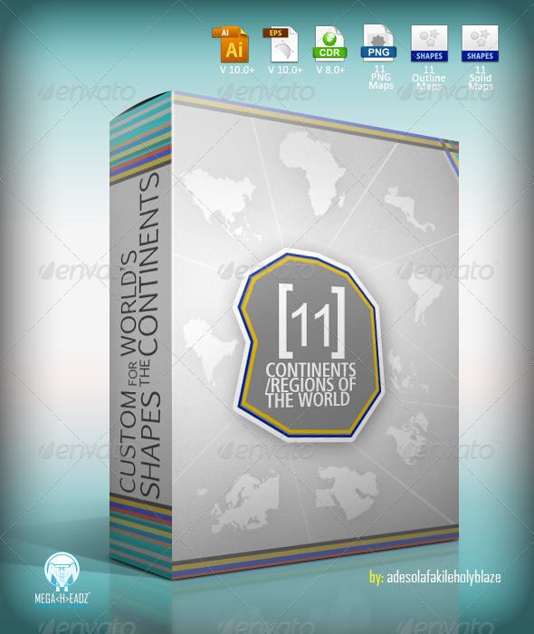 GraphicRiver 11 World s Continents Regions Custom Map Shapes 7725042