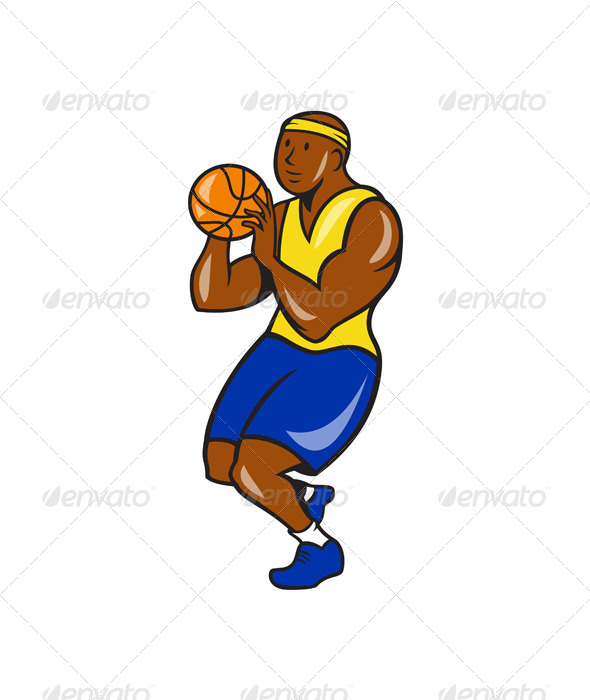 GraphicRiver African-American Basketball Player Shoot Ball Cart 7727243