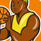 African-American Basketball Player Shooting Cartoo - GraphicRiver Item for Sale
