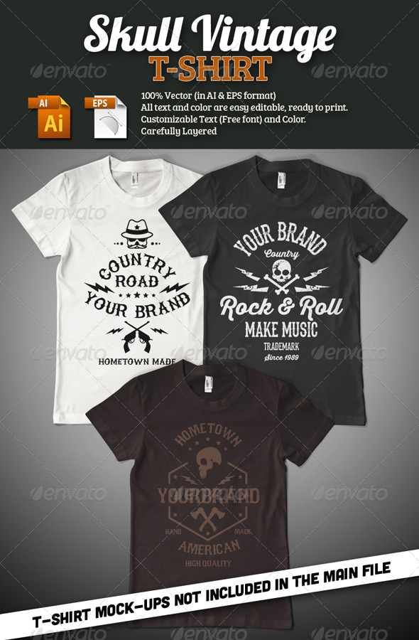GraphicRiver Skull Vintage T-Shirt 7730170
