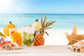 Summer drinks with blur beach on background - PhotoDune Item for Sale