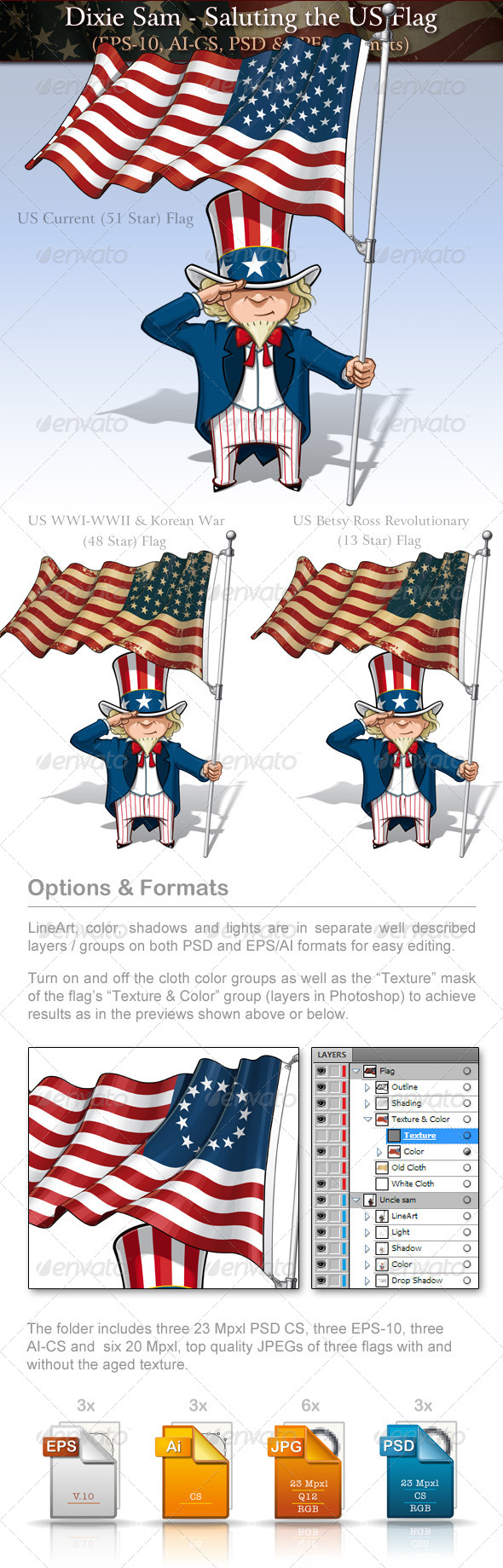 GraphicRiver Uncle Sam Saluting the US Flag 7732657